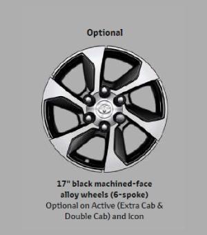 17 Black Machined-face Alloy Wheels(6-spoke)