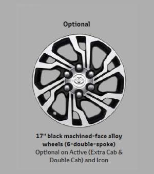 17 Black Machined-face Alloy Wheels(6-double-spoke)